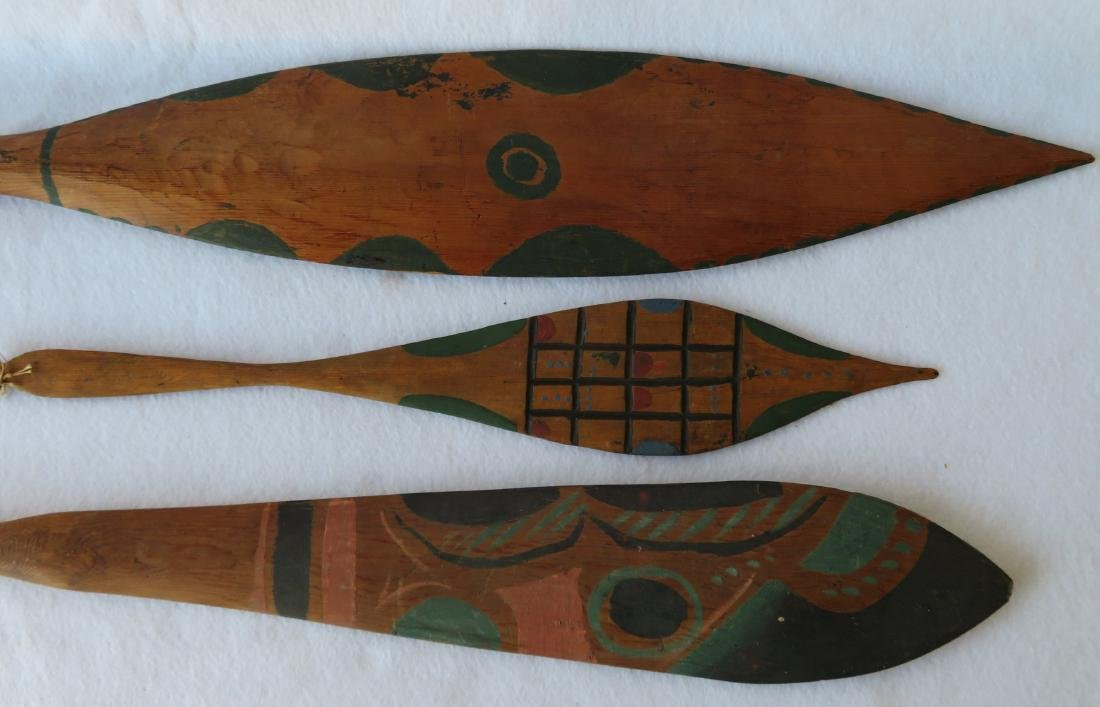 Grouping of 3 Northwest coast polychrome cedar dance - 2