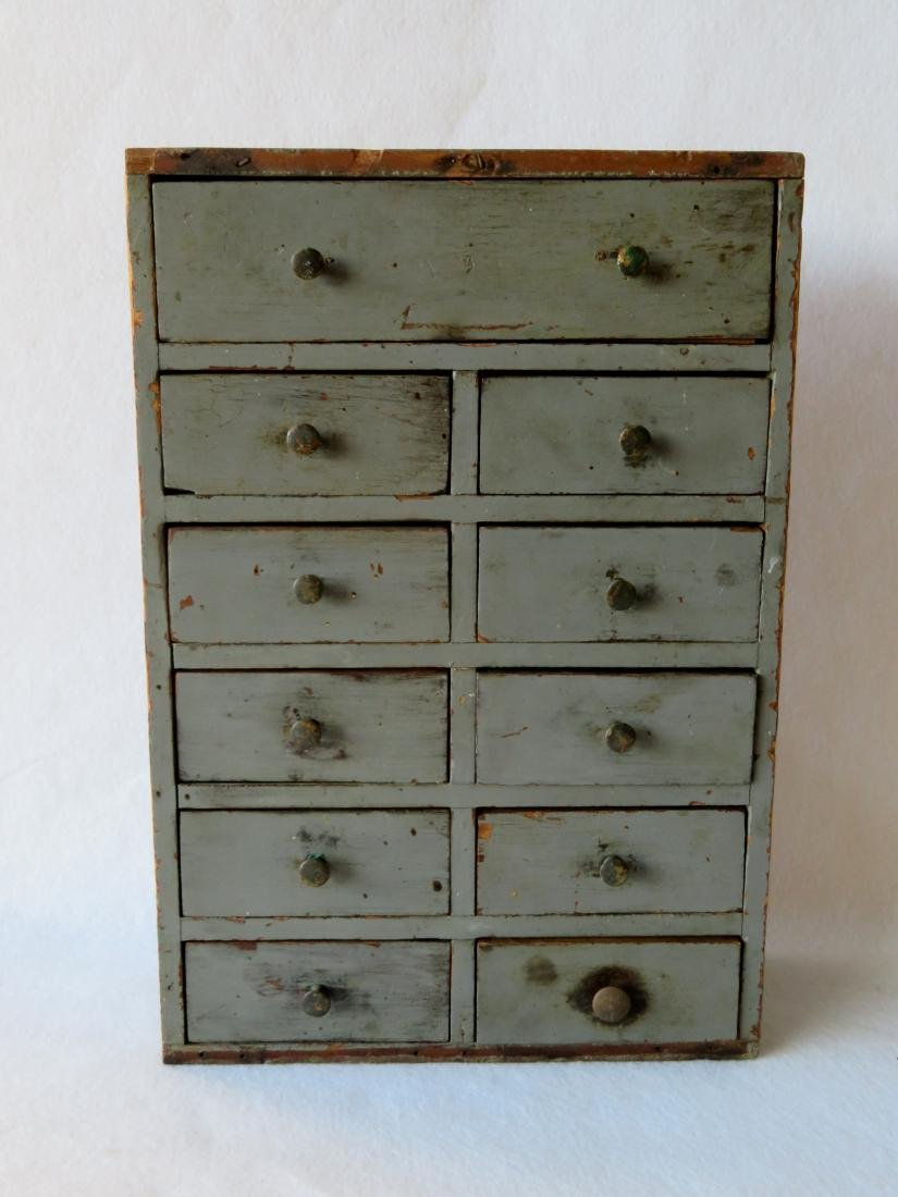 Small 13 drawer utility chest, dovetailed frame,
