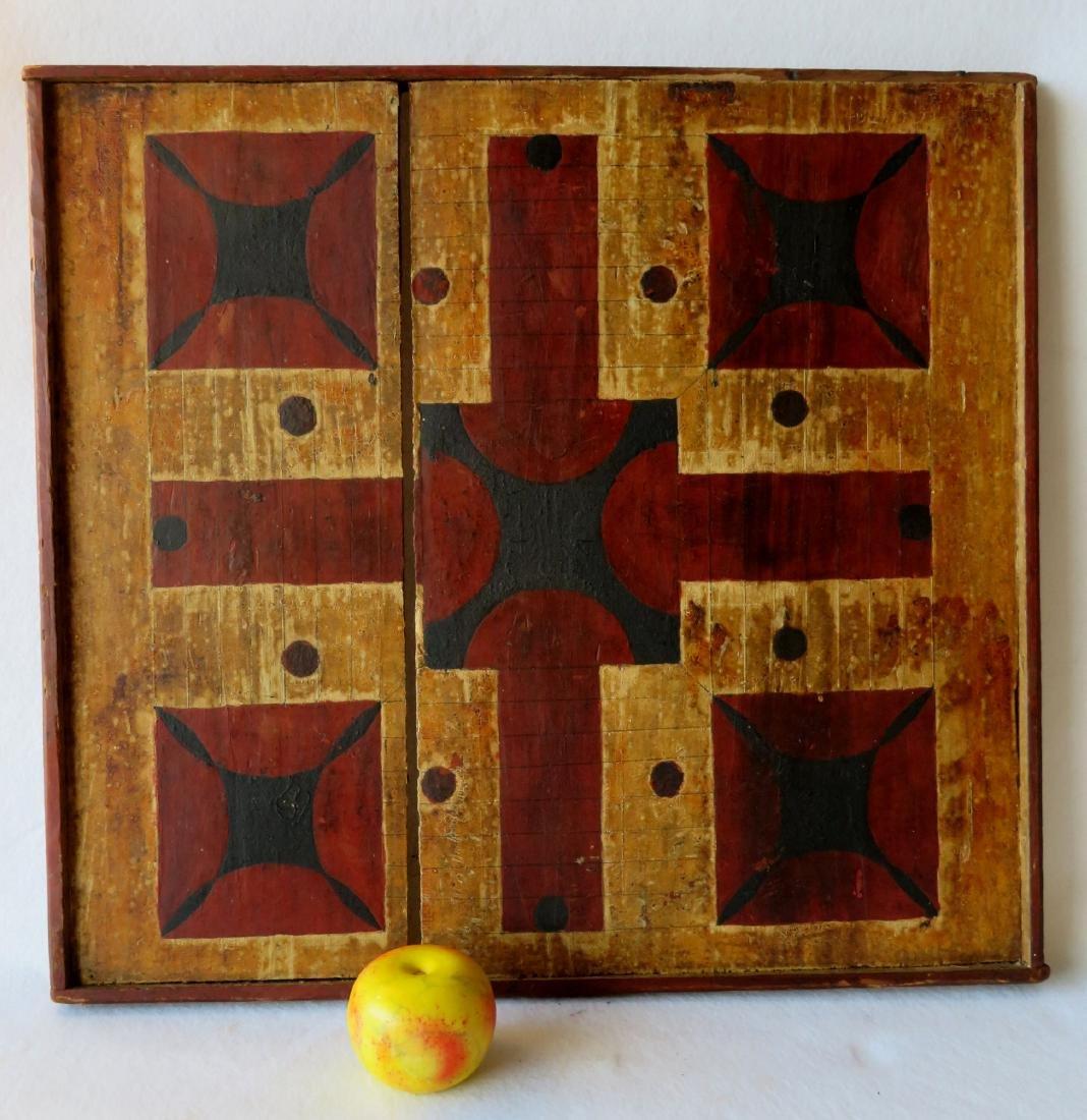 Parcheesi game board in original paint - attic found,