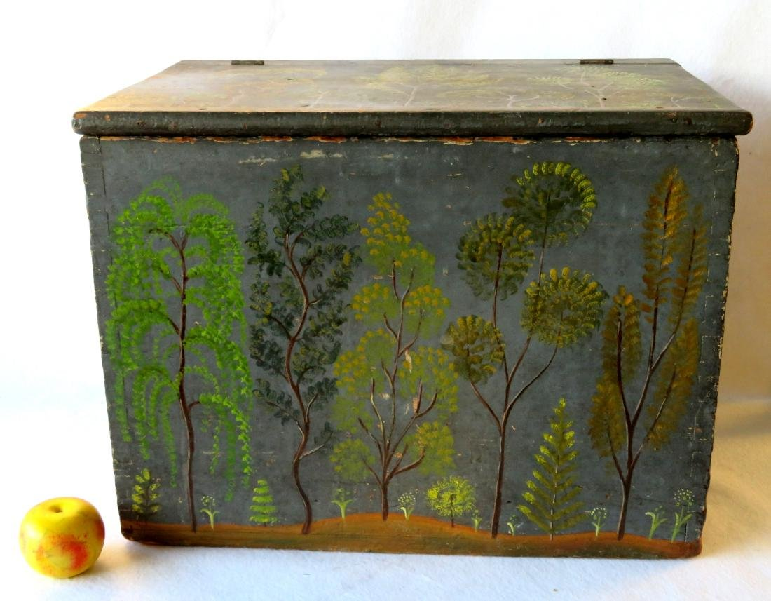 Dovetailed paint decorated kindling box with lid, mid