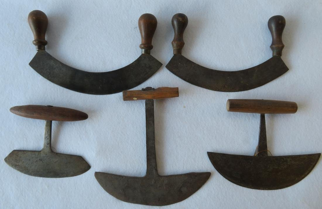 Grouping of 5 early hand forged iron food choppers with