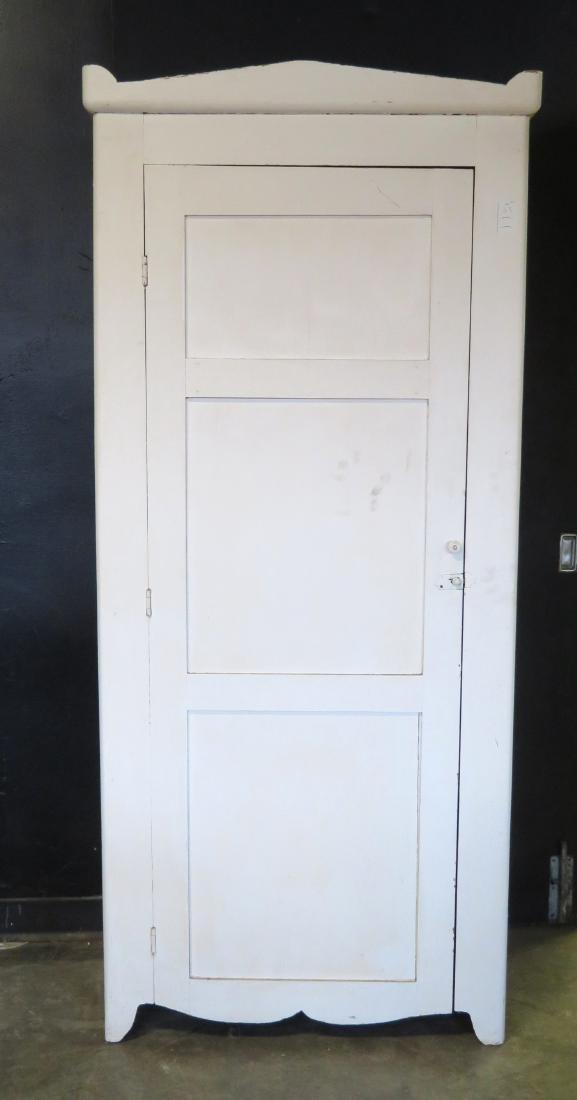 Single door pantry cupboard in newer white paint over