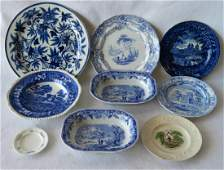 Grouping of 9 transferware platesbowls including flow