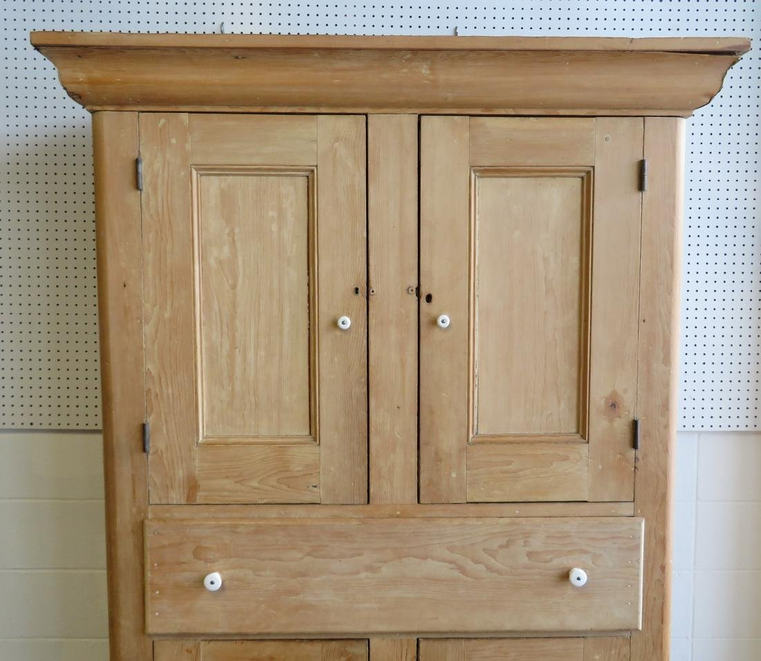 Large pine kitchen cupboard with white porcelain knobs, - 2