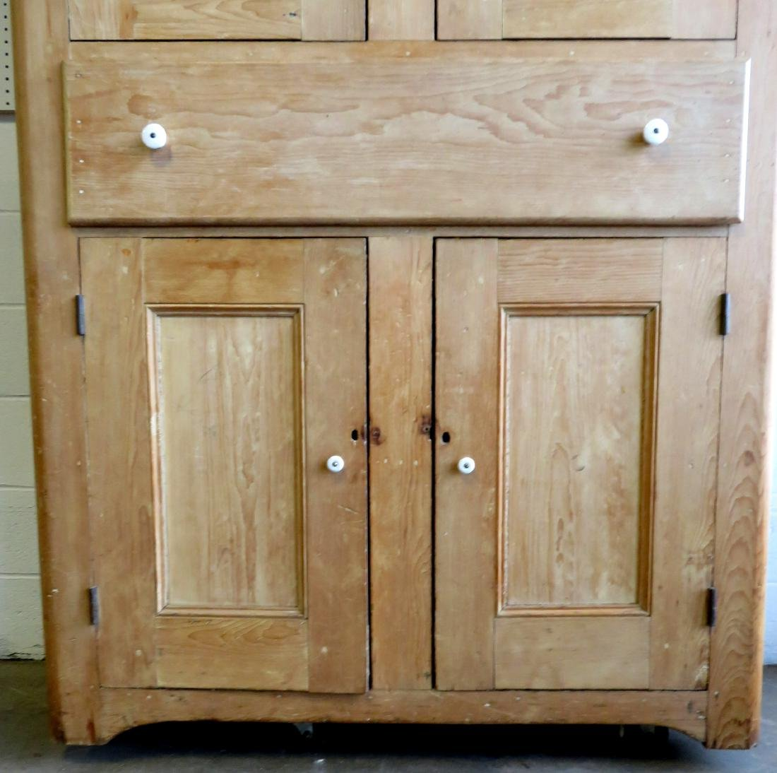 Large pine kitchen cupboard with white porcelain knobs, - 3