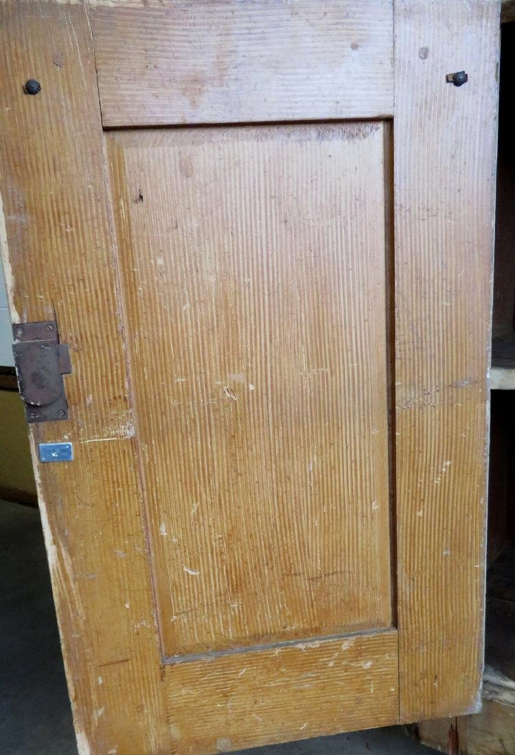 Large pine kitchen cupboard with white porcelain knobs, - 5