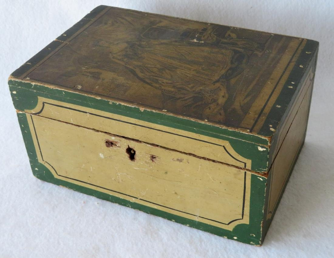 American paint decorated dresser box, probably