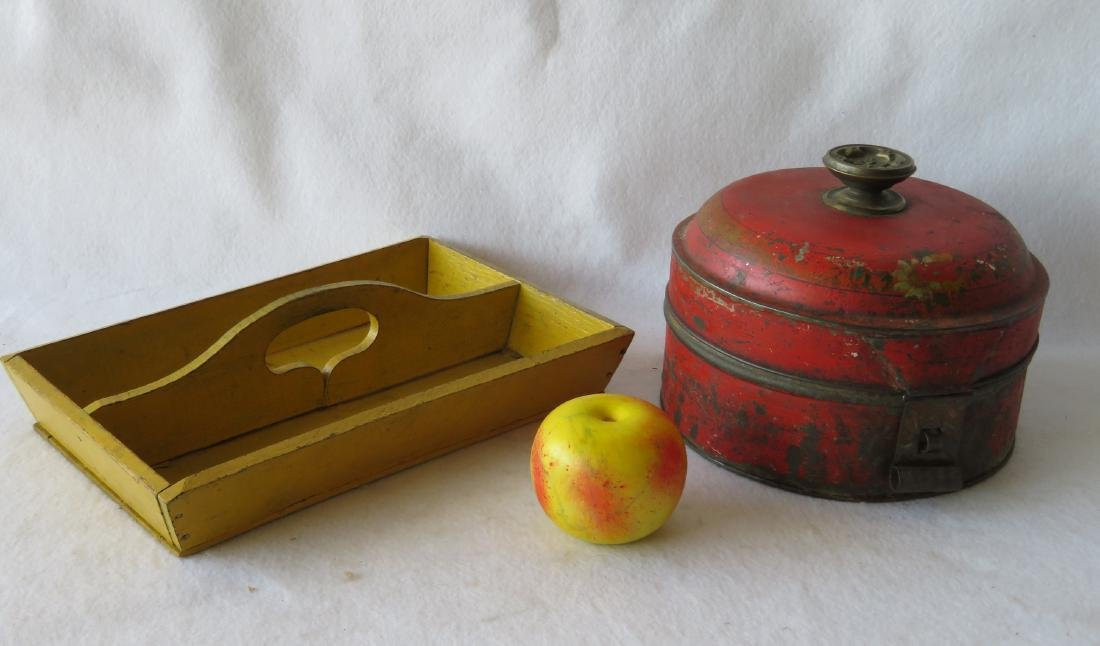 Two country items including a chrome yellow knife box -