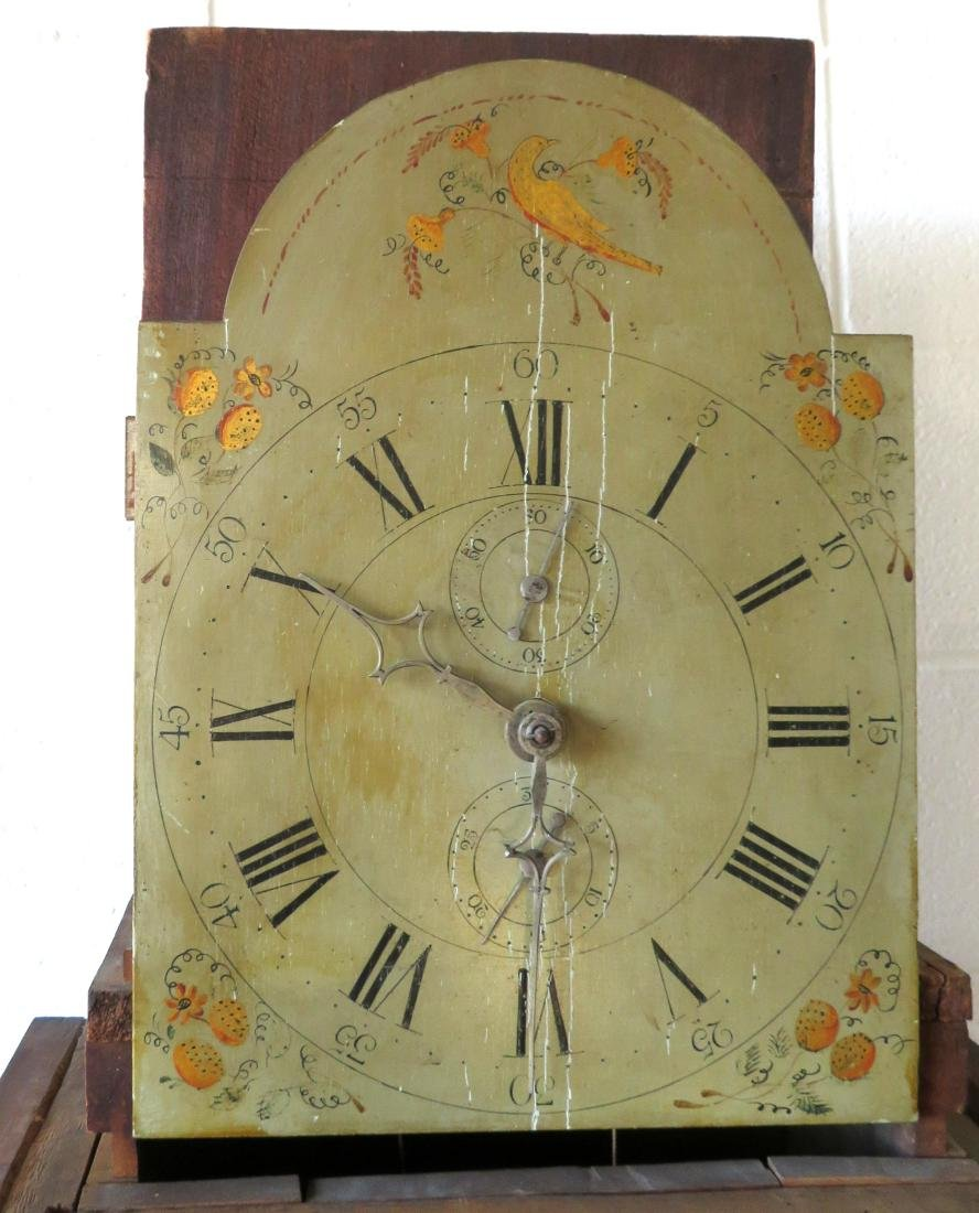 Hepplewhite tall case clock with tiger maple body, - 8