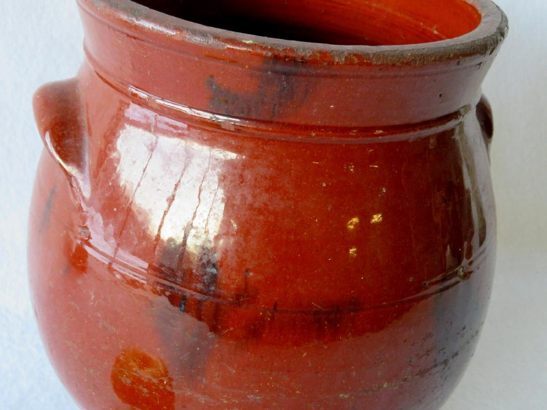 Redware ovoid storage jar with handles and manganese - 2