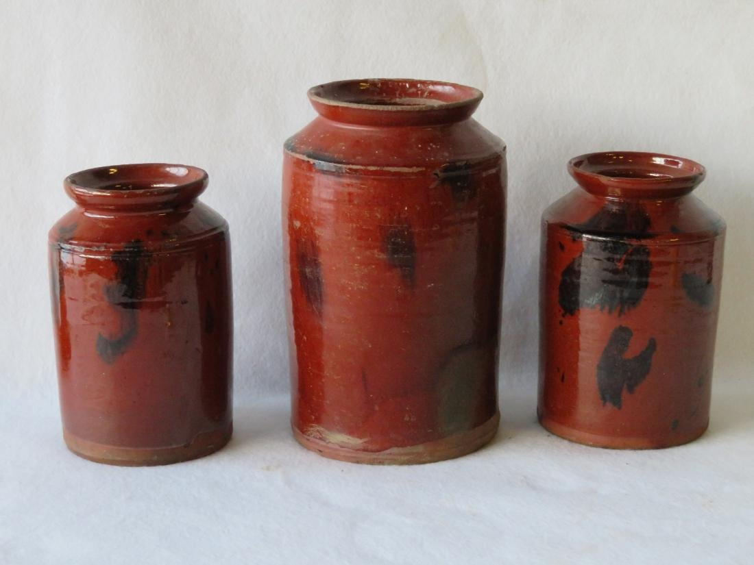 Three redware storage jars with manganese decorations - 2