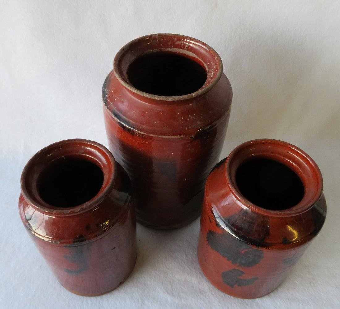 Three redware storage jars with manganese decorations - 3