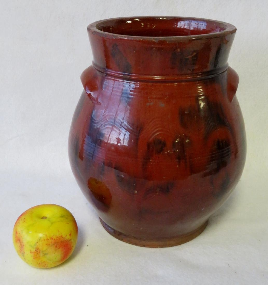 Redware ovoid storage jar with handles, high collar,