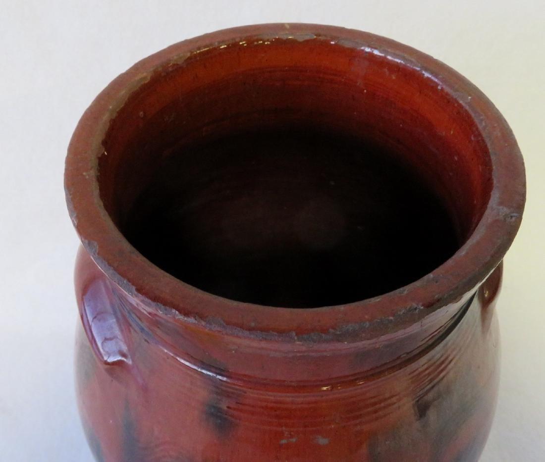 Redware ovoid storage jar with handles, high collar, - 2