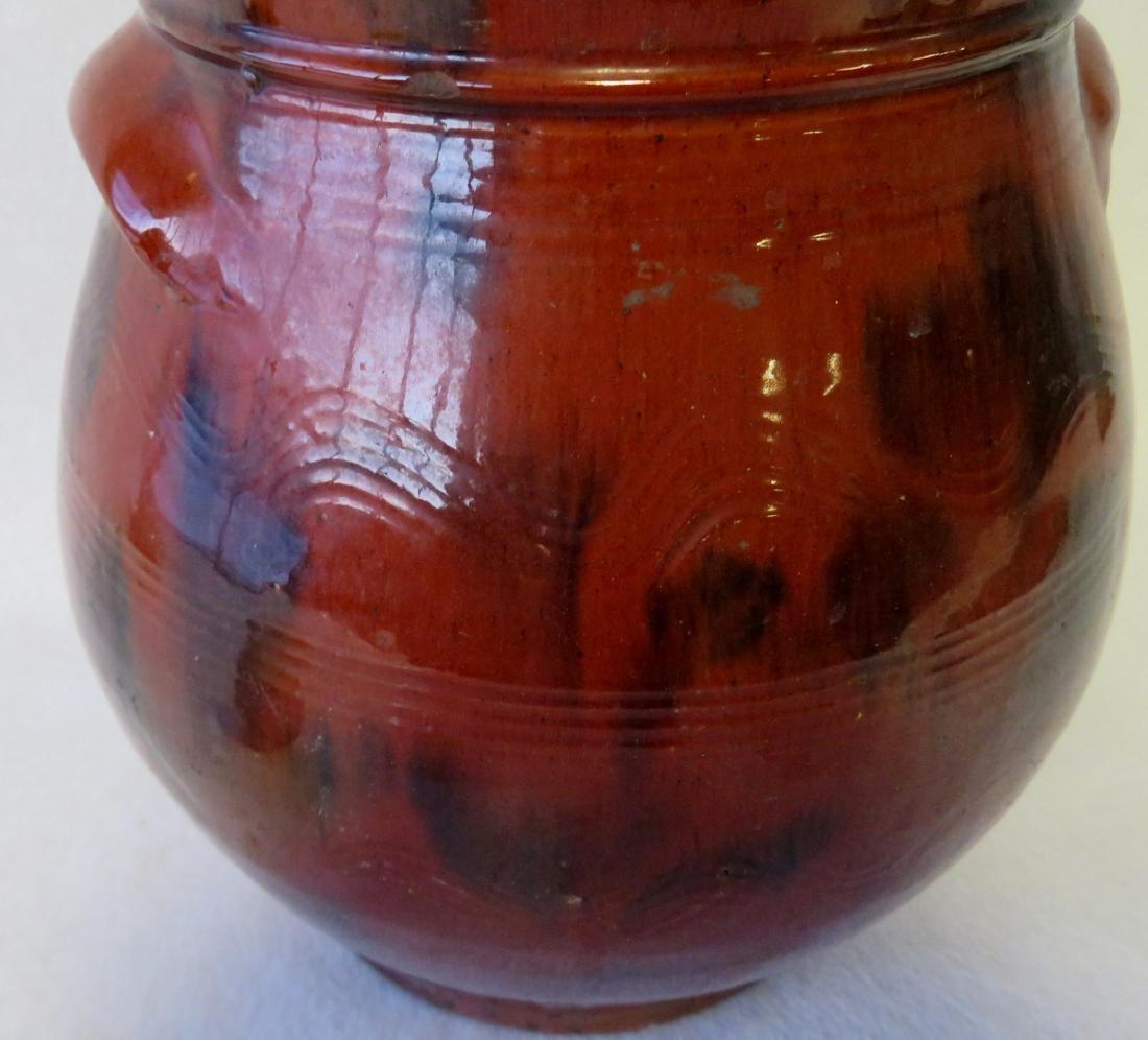 Redware ovoid storage jar with handles, high collar, - 3