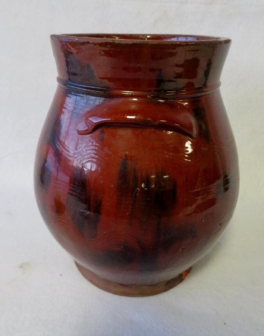 Redware ovoid storage jar with handles, high collar, - 4