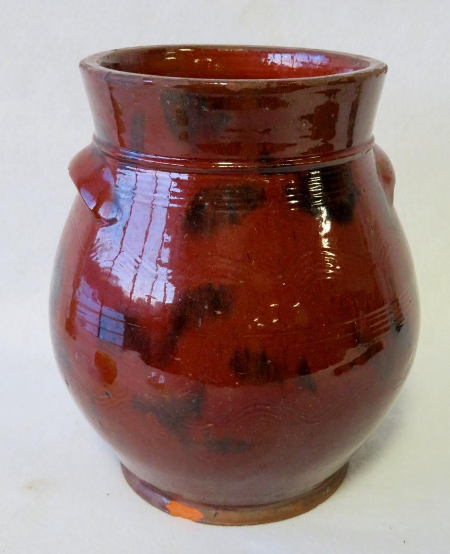 Redware ovoid storage jar with handles, high collar, - 5