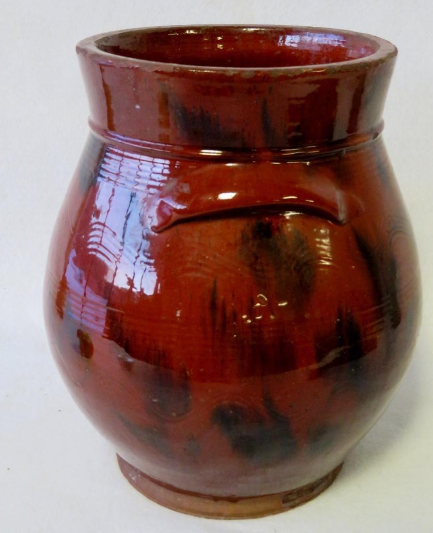 Redware ovoid storage jar with handles, high collar, - 6