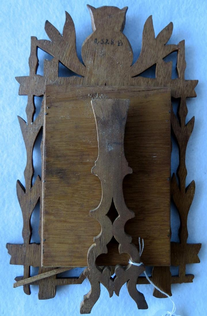 Rustic carved wooden frame with a seated owl finial, - 4