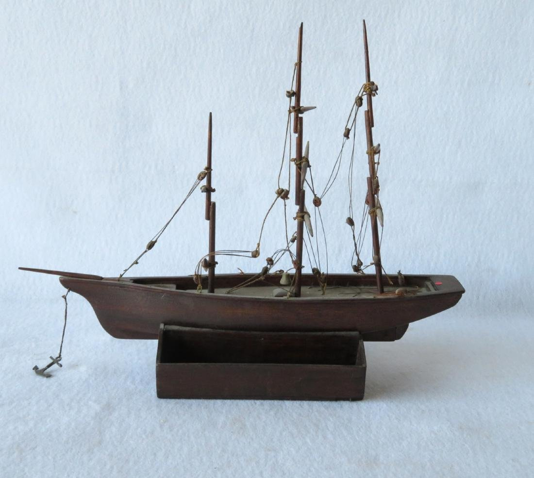 Hand made wooden 3 mast mahogany sailing vessel, rigged