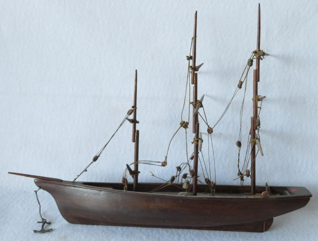 Hand made wooden 3 mast mahogany sailing vessel, rigged - 2