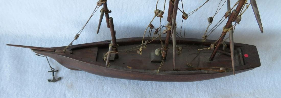 Hand made wooden 3 mast mahogany sailing vessel, rigged - 3