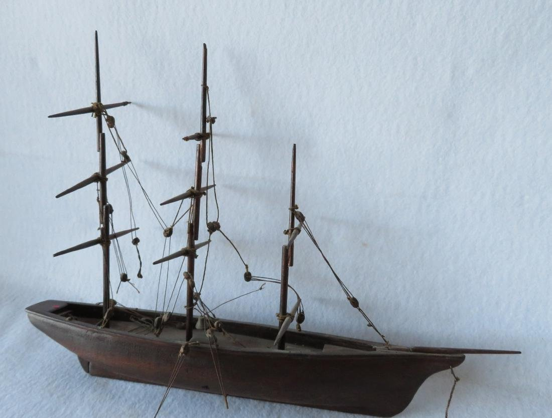 Hand made wooden 3 mast mahogany sailing vessel, rigged - 4