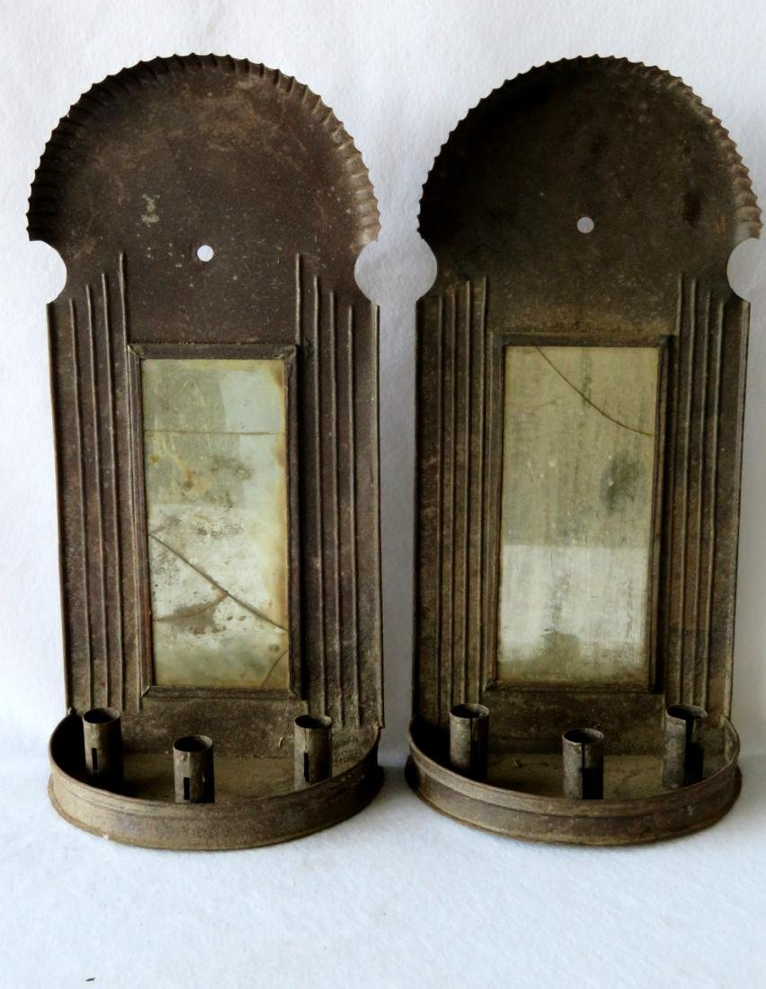 Large pair of tin mirror back wall sconces with crimped