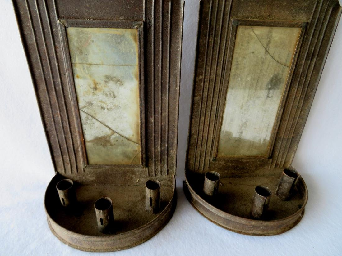 Large pair of tin mirror back wall sconces with crimped - 2