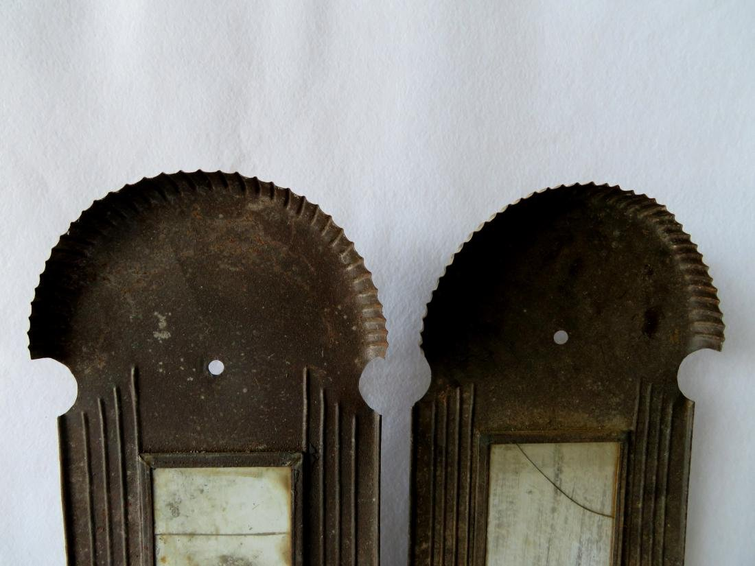 Large pair of tin mirror back wall sconces with crimped - 3