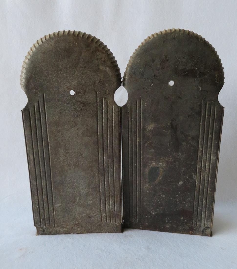 Large pair of tin mirror back wall sconces with crimped - 4