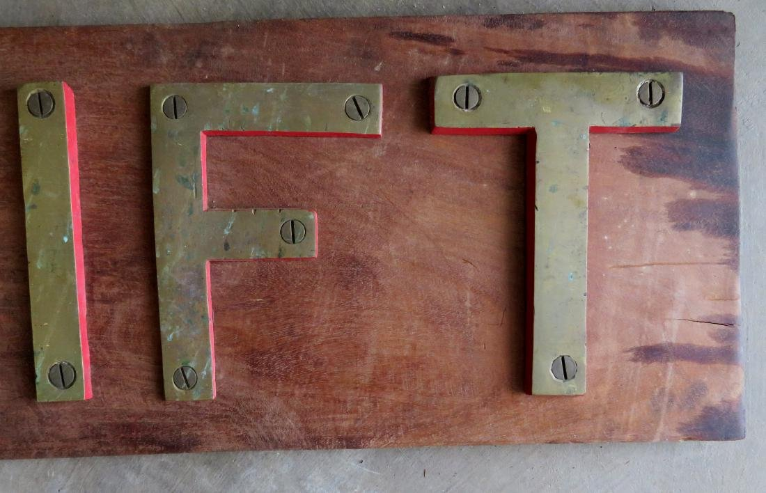 "Vintage boat name sign ""THRIFT"" - brass letters with - 3"