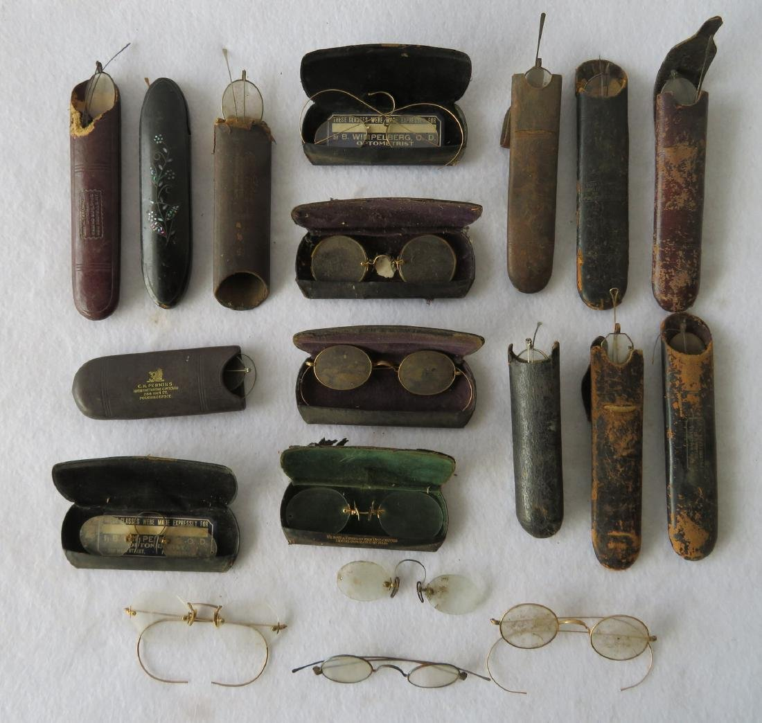 Grouping of 19 pairs of Civil War era and later eye