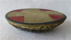 Plains Indian style drum with hand painted geometric