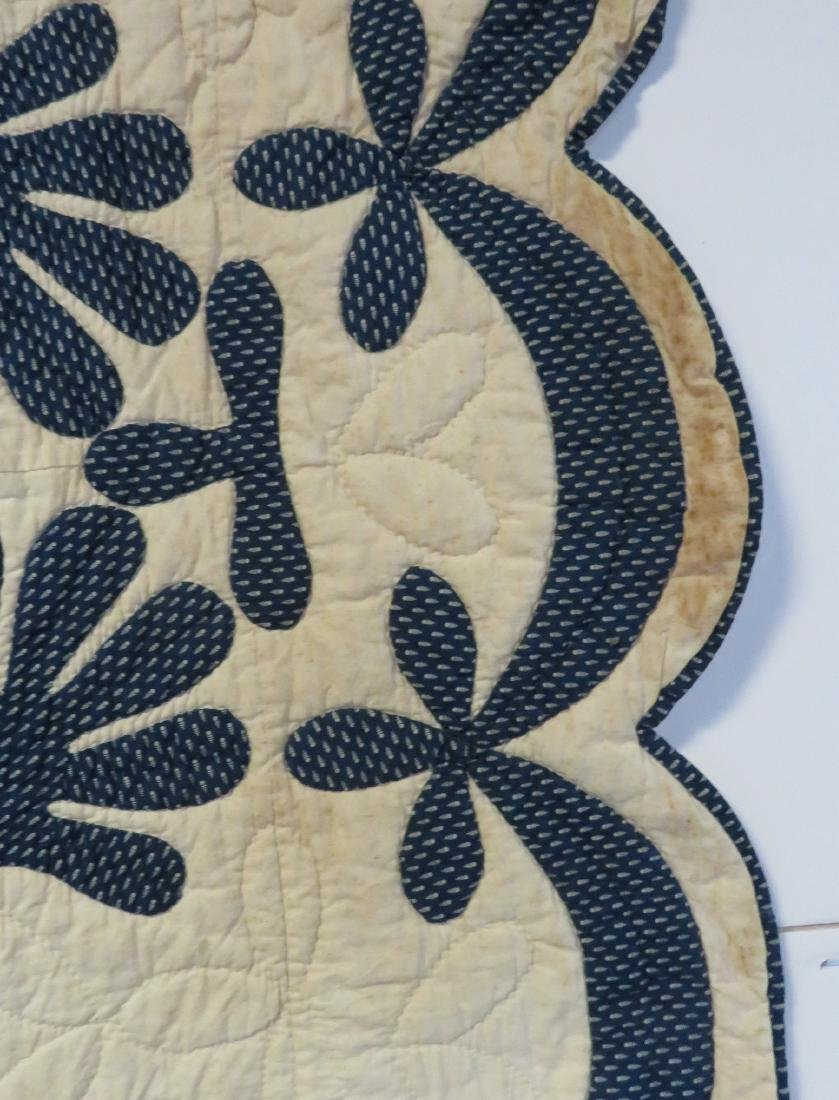 Hudson Valley blue and white applique quilt in the oak - 3