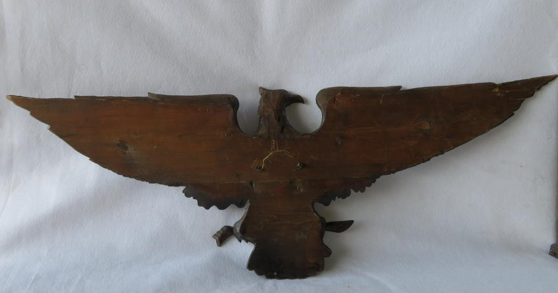 Carved wooden spread wing eagle wall plaque with old - 5