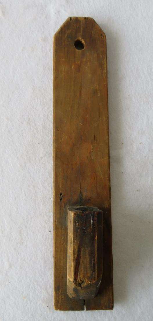 Early pine hanging candle wall sconce, early to mid