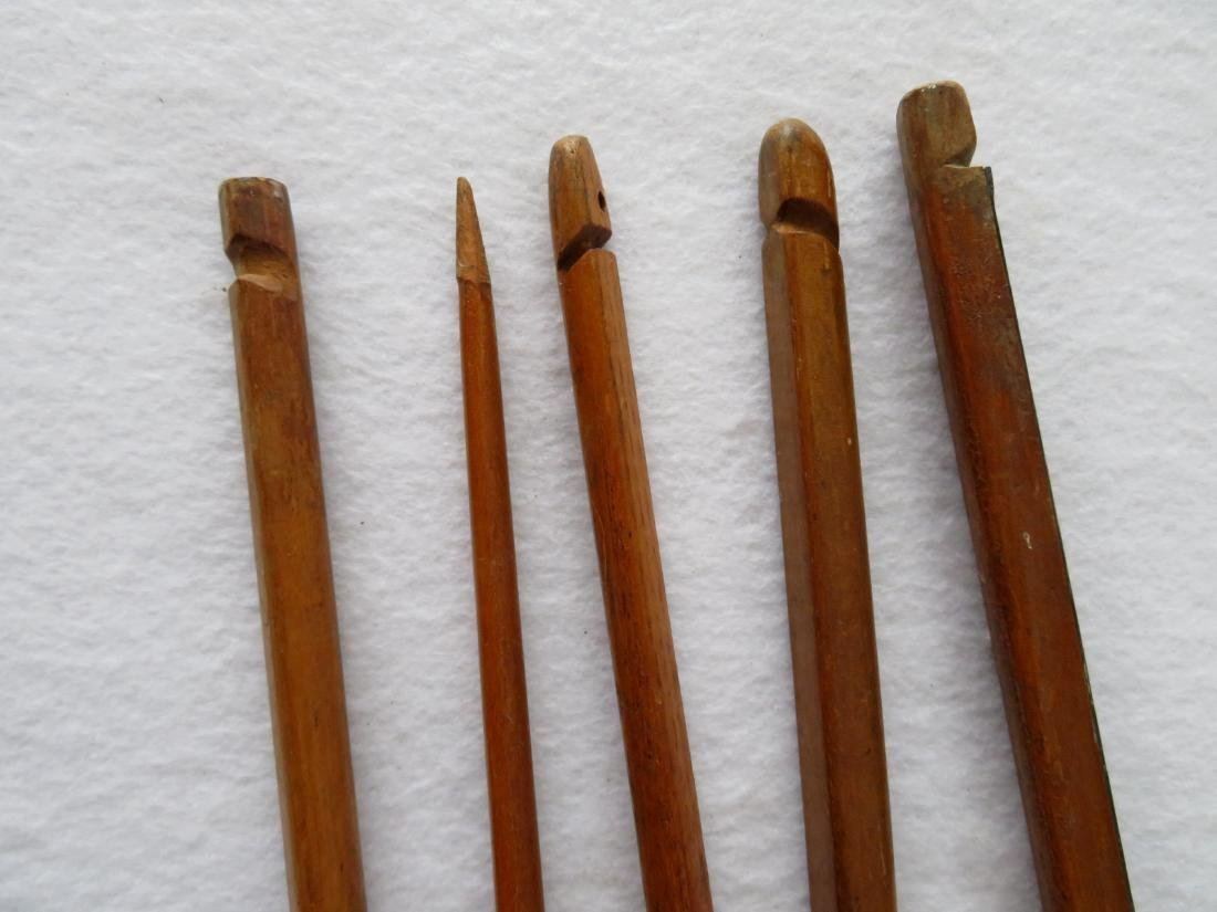 Five old wooden bows, mostly hand made, ranging in size - 2