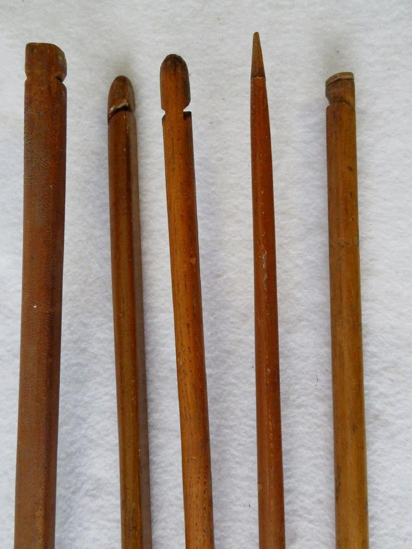 Five old wooden bows, mostly hand made, ranging in size - 4
