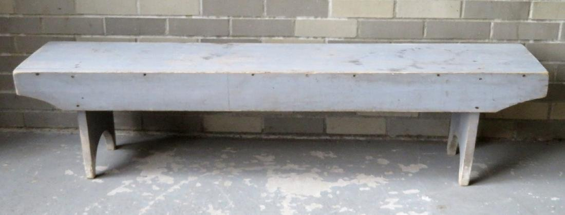 Meeting house bench in original blue/gray paint with