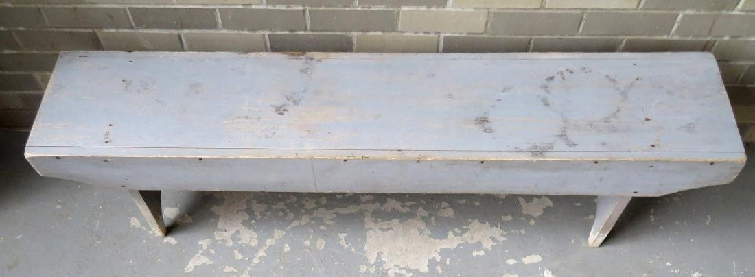 Meeting house bench in original blue/gray paint with - 2