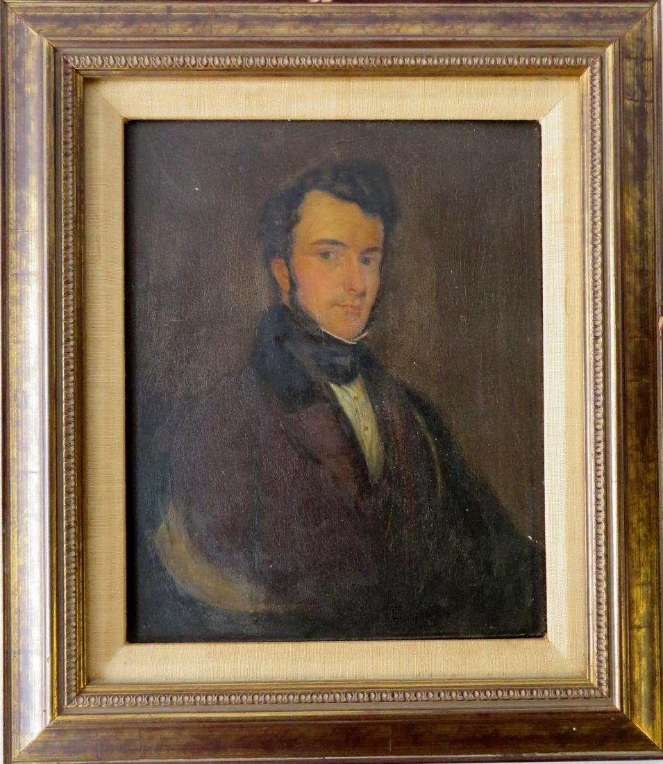 Oil on panel portrait of an English gentleman - some