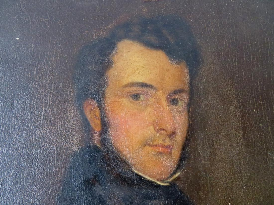 Oil on panel portrait of an English gentleman - some - 3