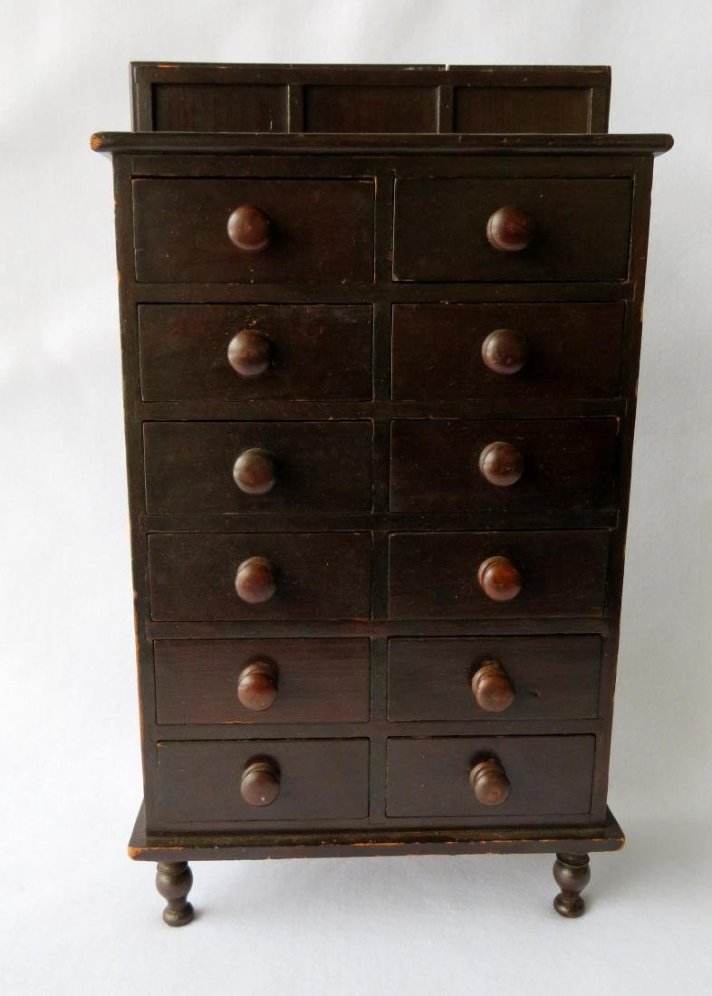 Outstanding table top apothecary chest having 12