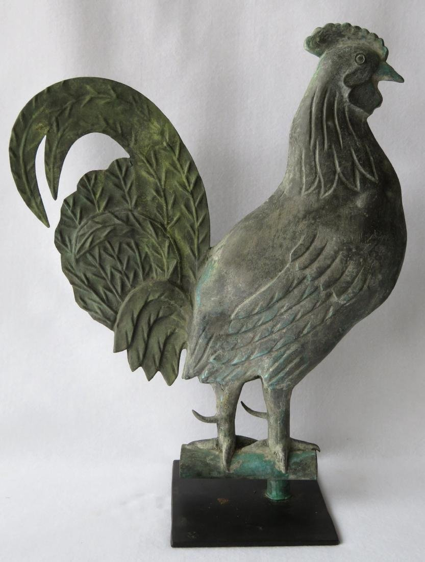 A majestic patinated rooster weathervane, full detailed