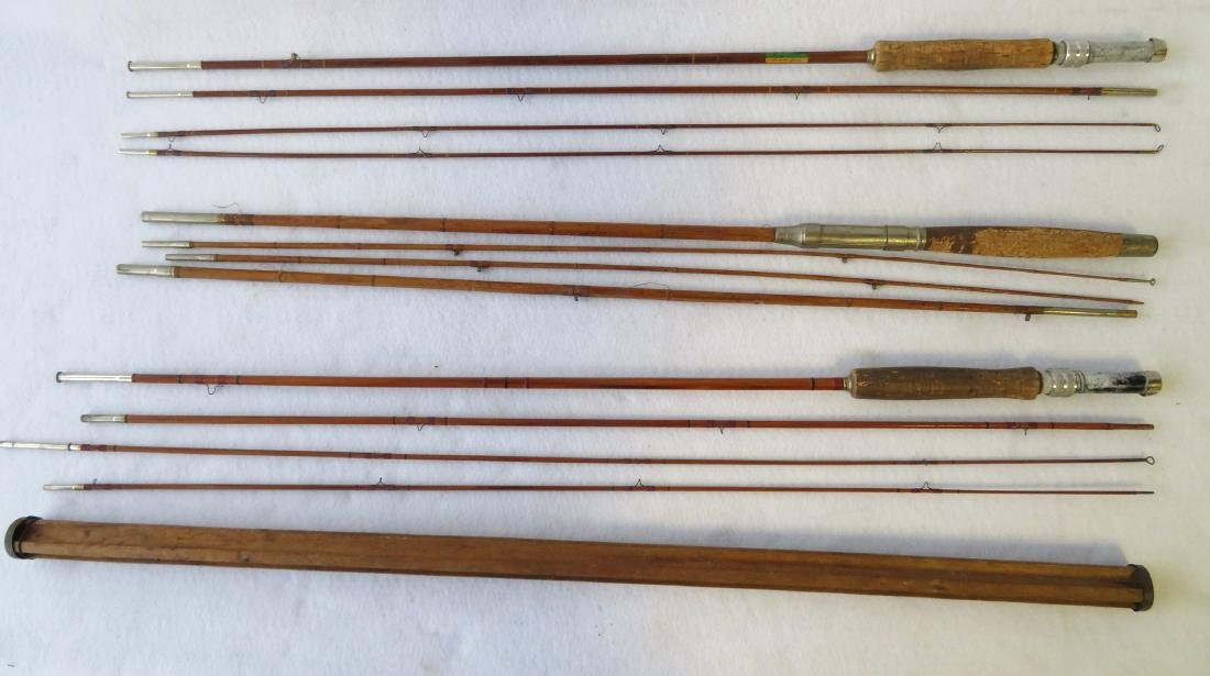 Three split bamboo fly rods: 1) Signed Sport King M/33