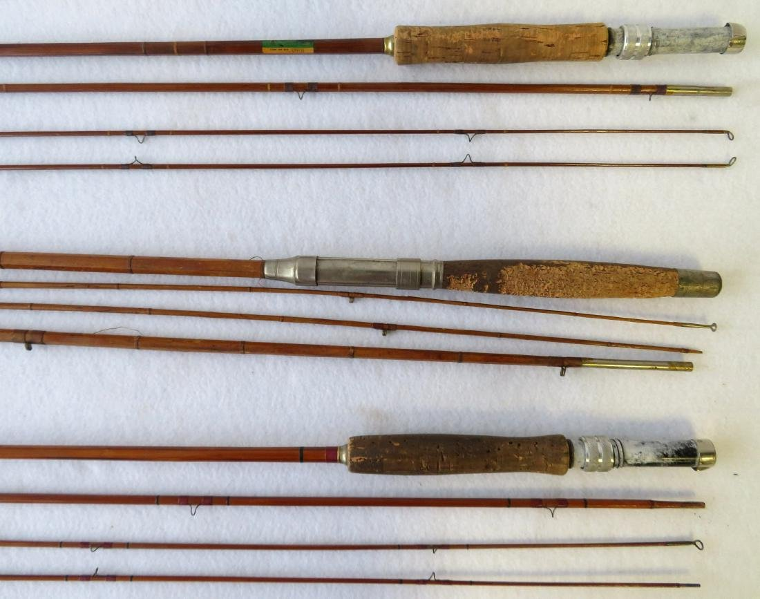 Three split bamboo fly rods: 1) Signed Sport King M/33 - 2