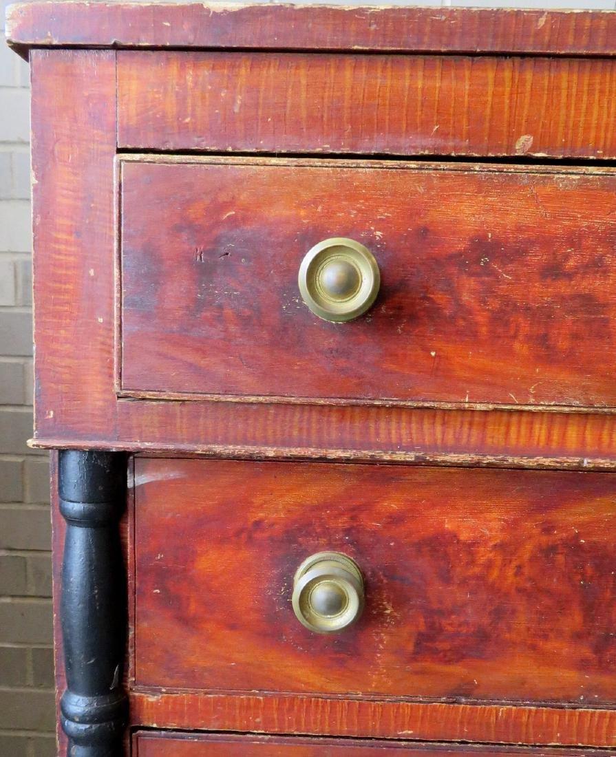 Country Sheraton grain painted chest having 4 reverse - 3