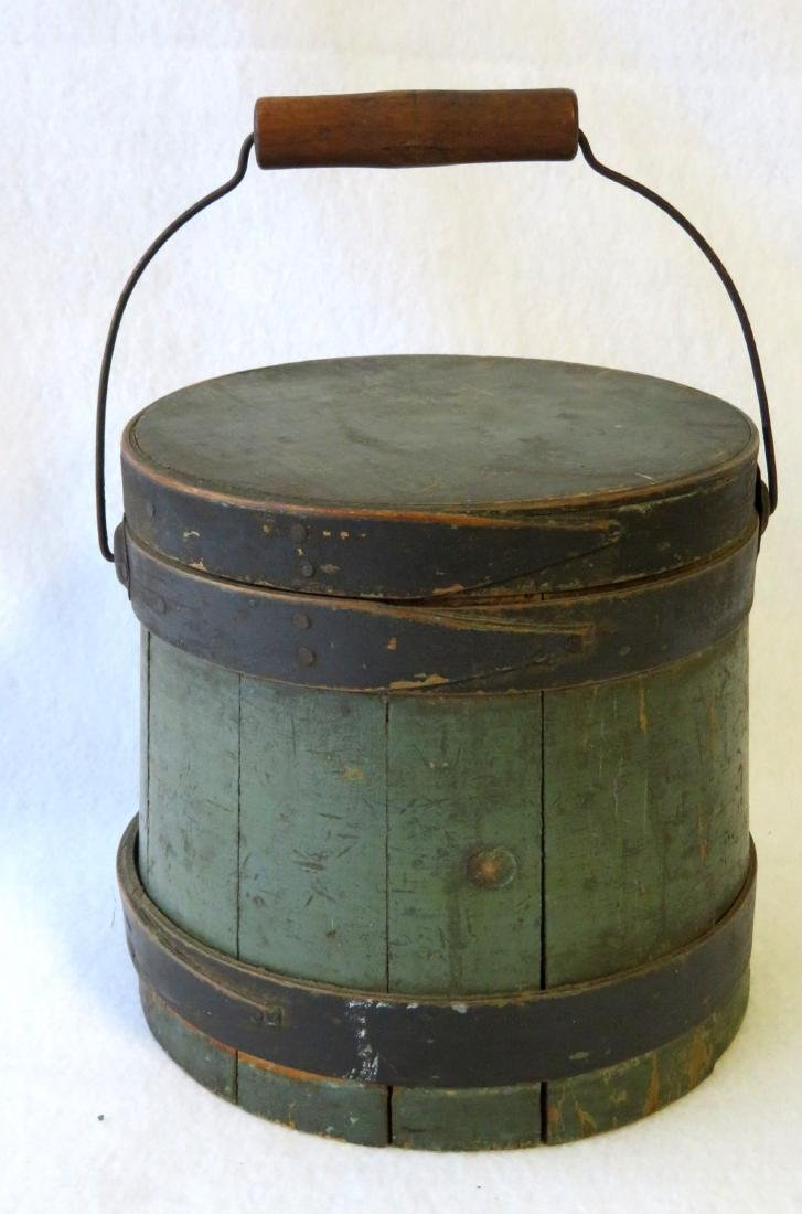 Small size wooden firkin in original green and black