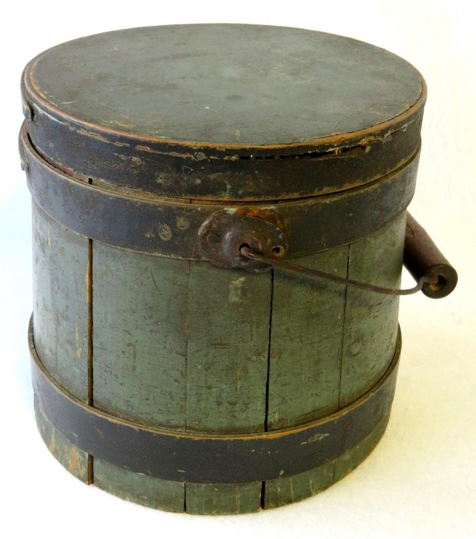 Small size wooden firkin in original green and black - 3